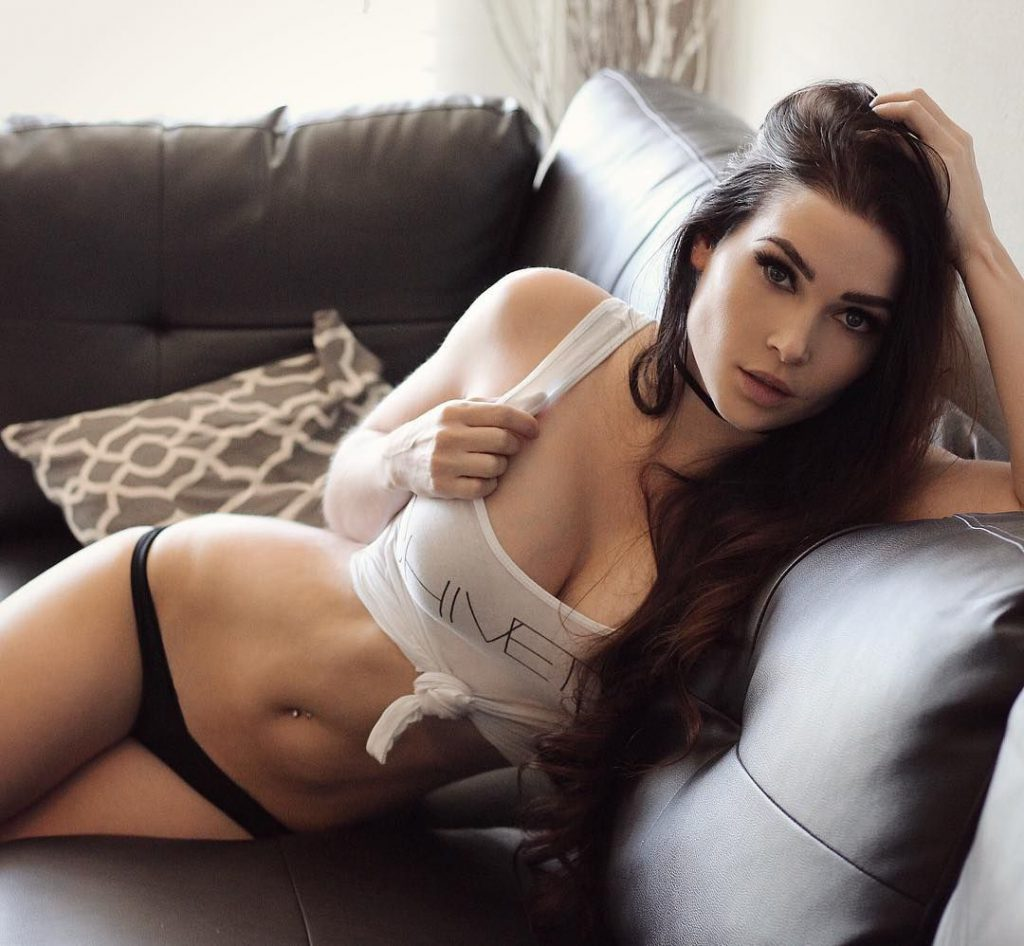 Brunette girl on couch